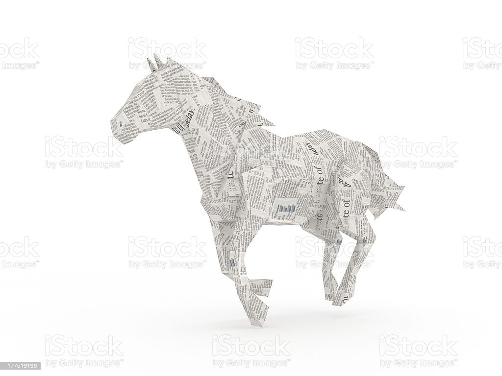 Newspaper horse symbolizing the power of informations royalty-free stock photo