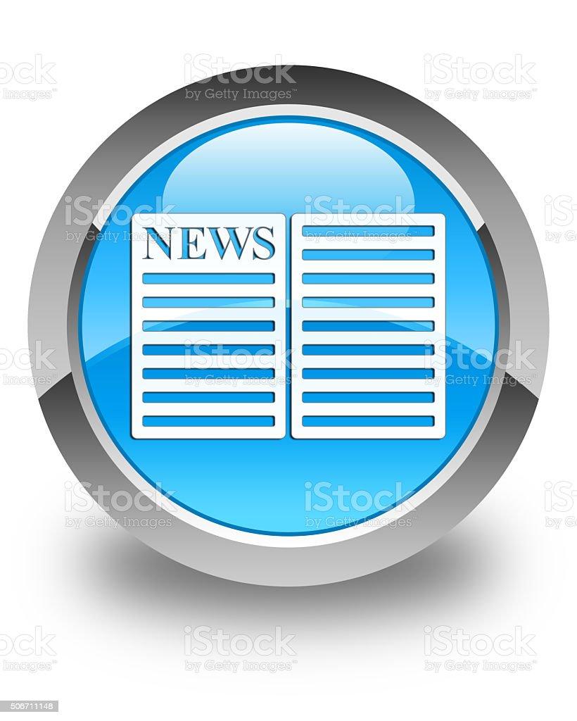 Newspaper icon glossy cyan blue round button stock photo
