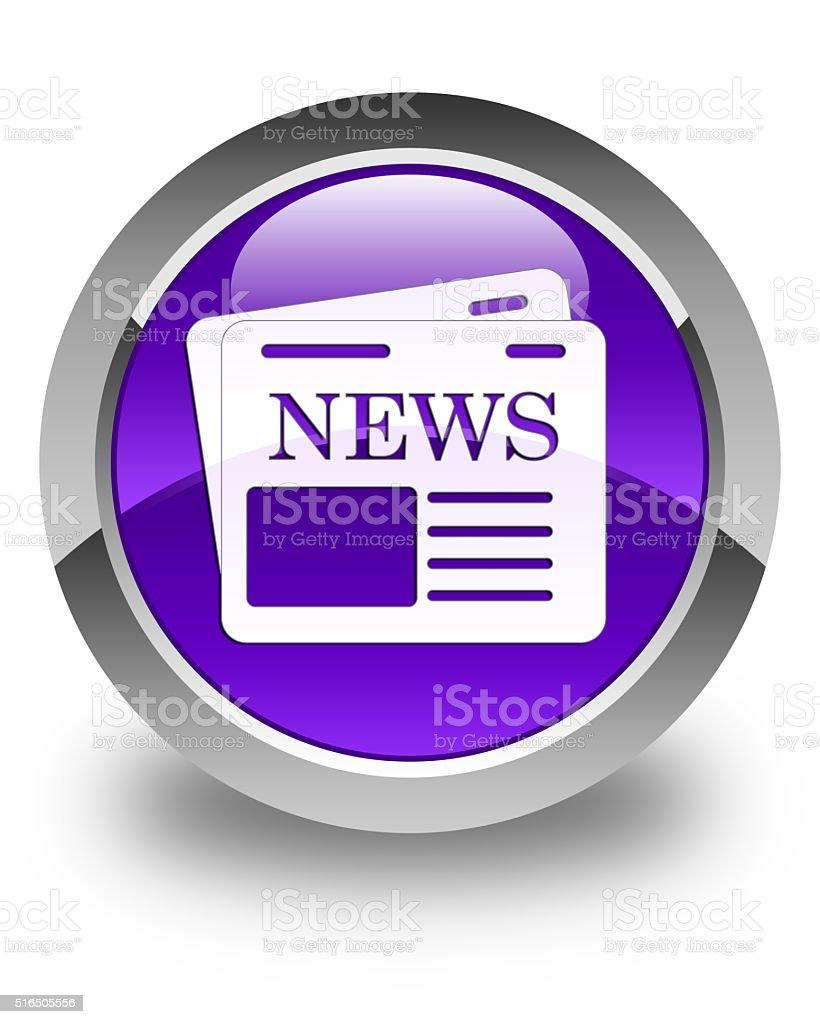 Newspaper icon glossy purple round button stock photo