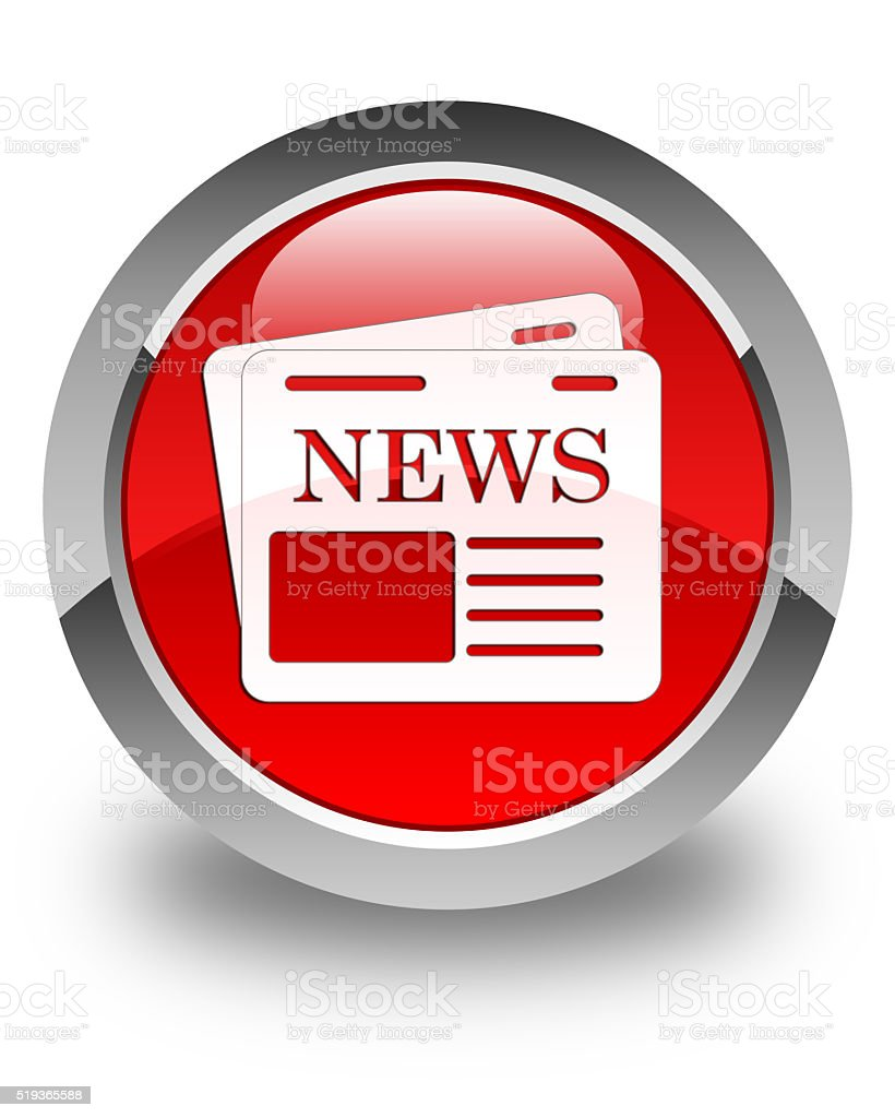 Newspaper icon glossy red round button stock photo