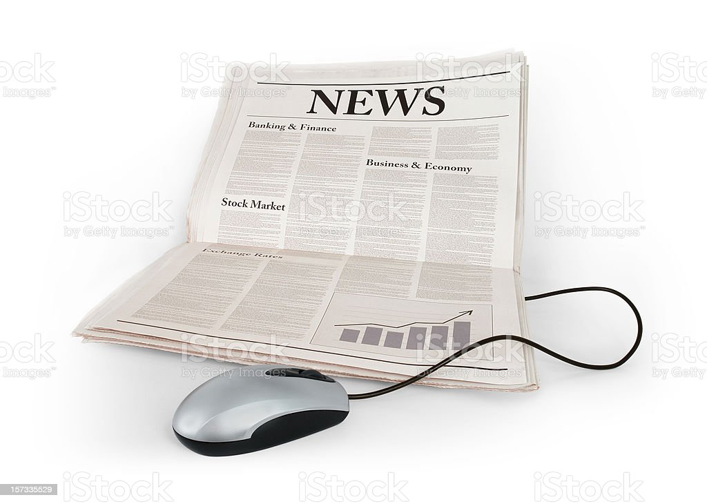 Newspaper in Laptop Shape royalty-free stock photo