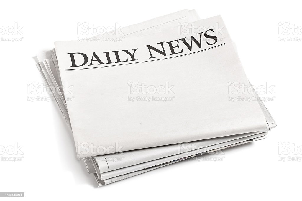 Newspaper Isolated on White royalty-free stock photo