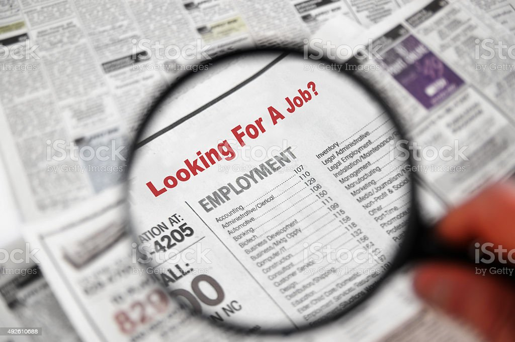 Newspaper Job Search stock photo
