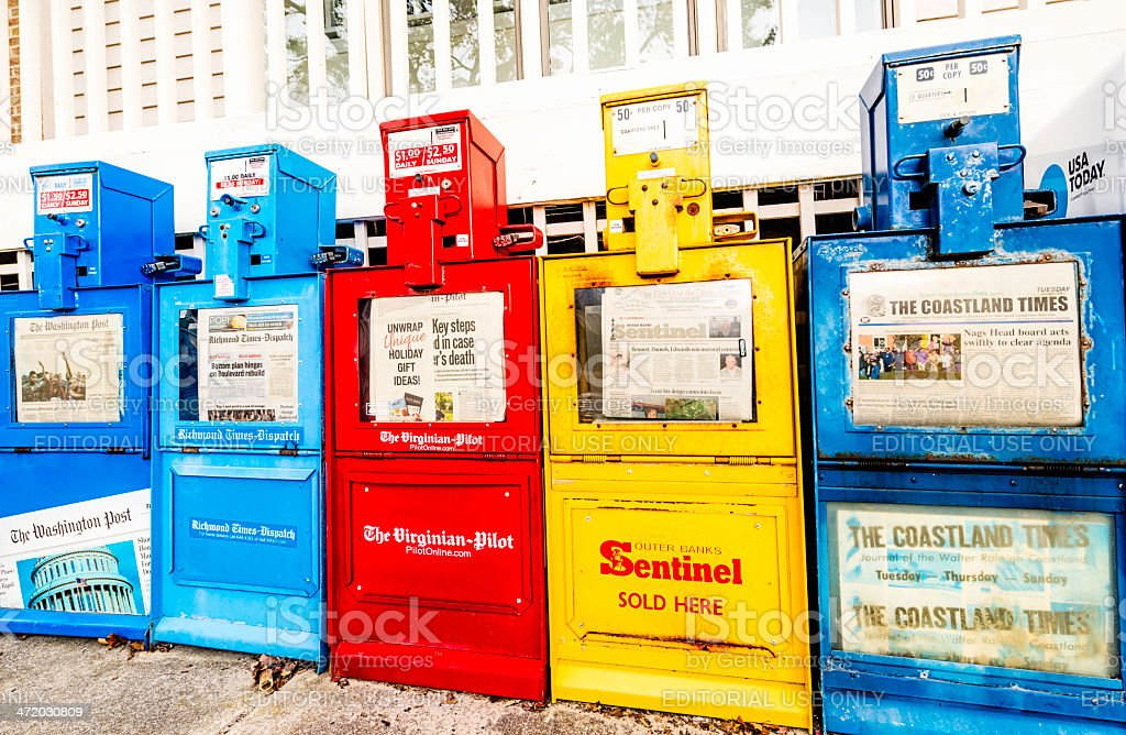 Newspaper Kiosks in a Row stock photo