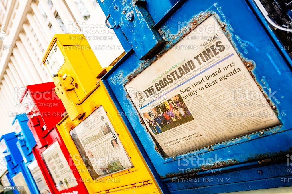 Newspaper Kiosks in a Row stock photo