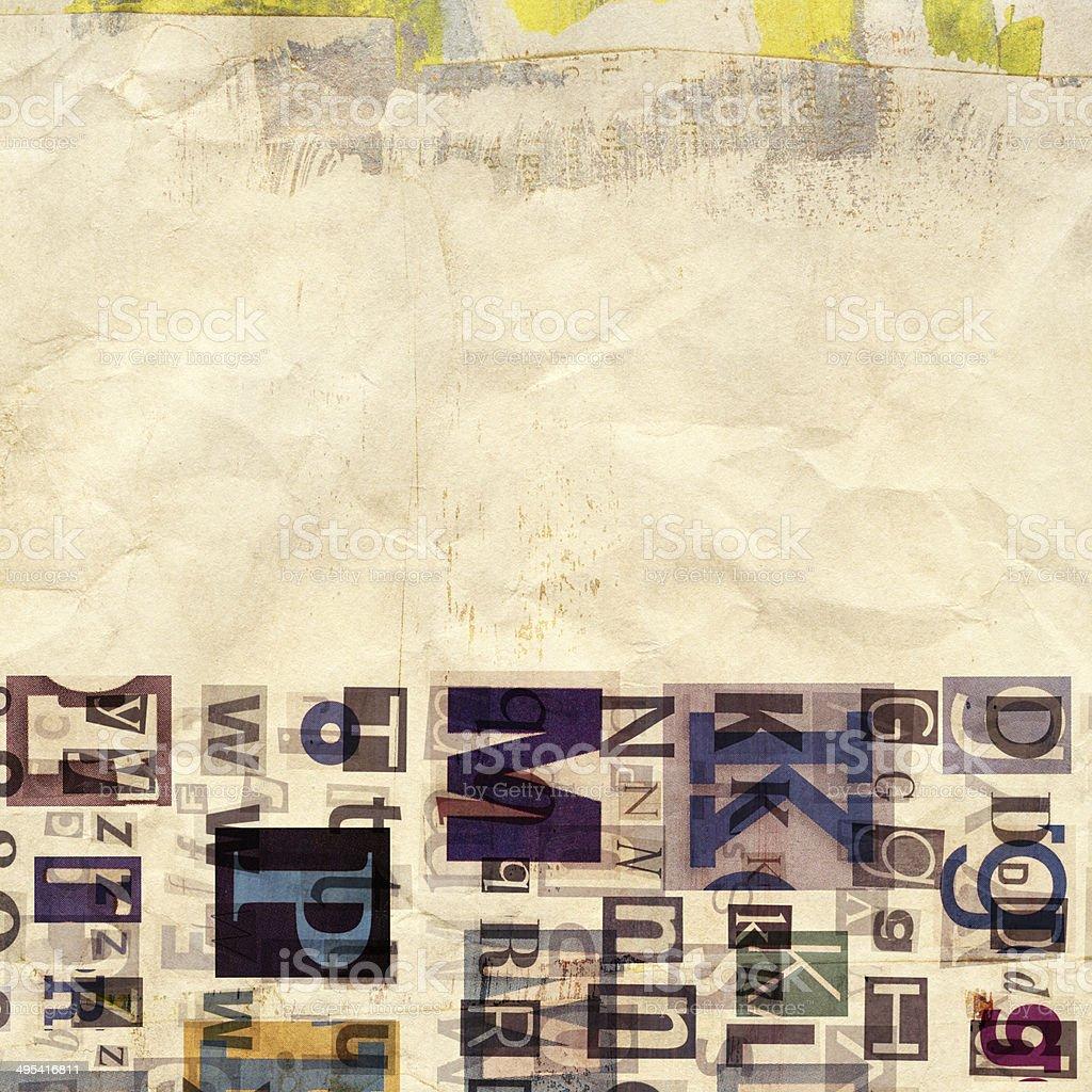 newspaper, magazine collage grunge background stock photo