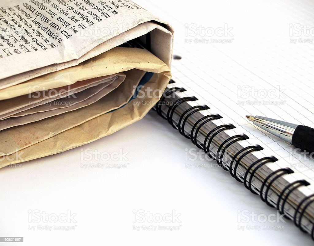 newspaper, notebook and pen #5 stock photo