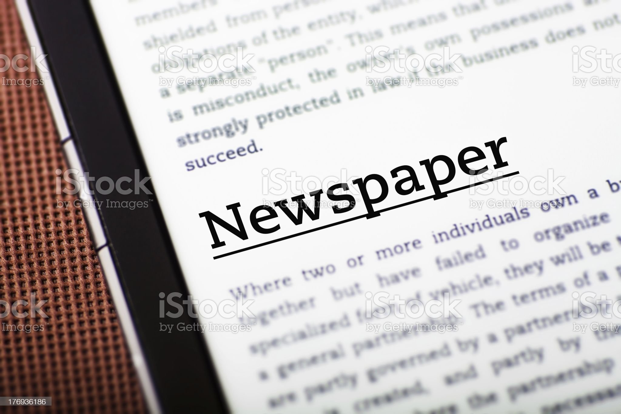 Newspaper on tablet screen, ebook concept royalty-free stock photo