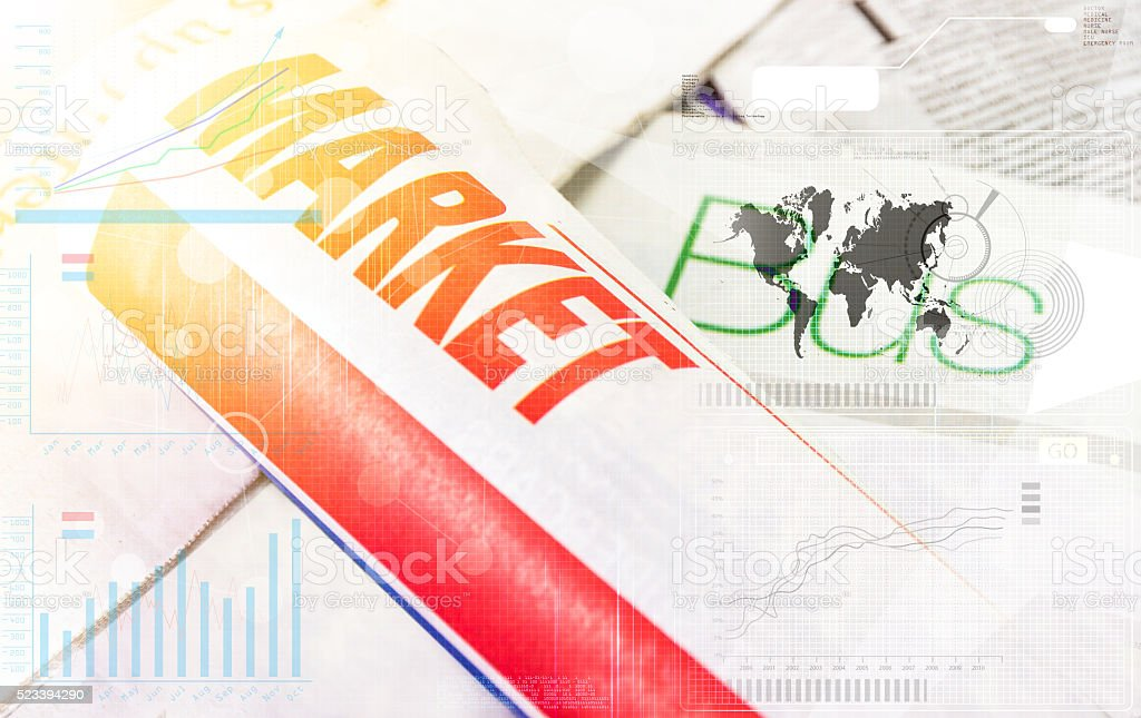 Newspaper on white background, Business concept. stock photo