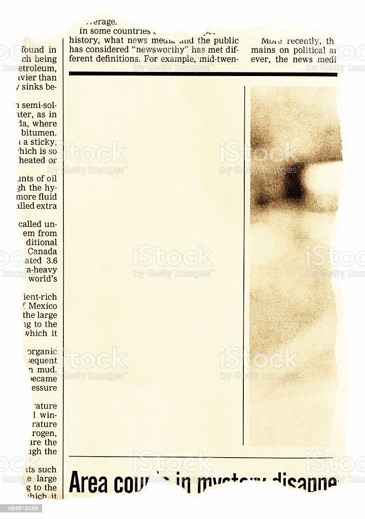 Newspaper page with blank space for your message. Sepia toned. stock photo