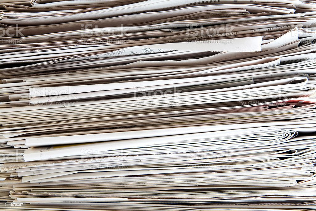 newspaper pile royalty-free stock photo