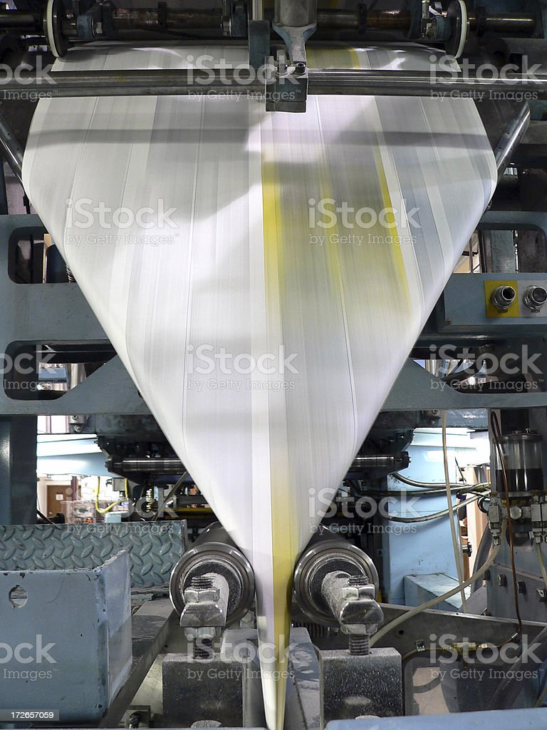 Newspaper Press--Folding stock photo