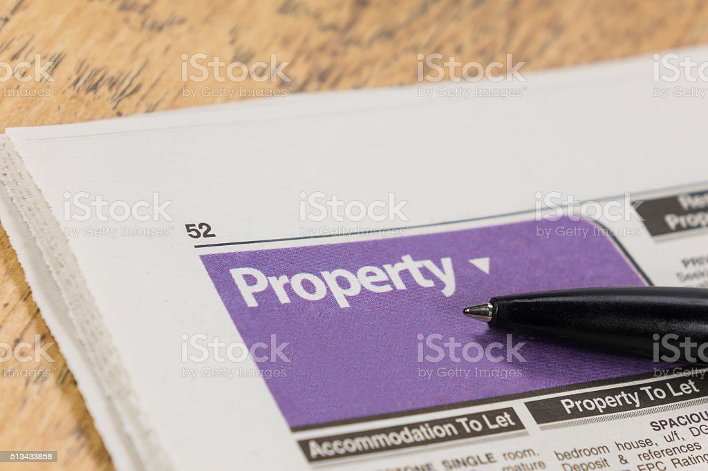 Newspaper property and home search stock photo
