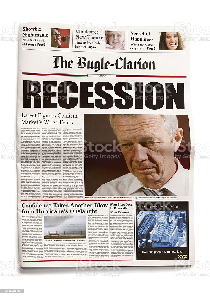 Newspaper: Recession royalty-free stock photo