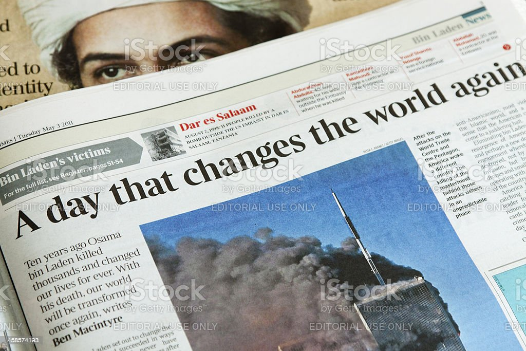 Newspaper reports on the day Osama bin Laden died. stock photo
