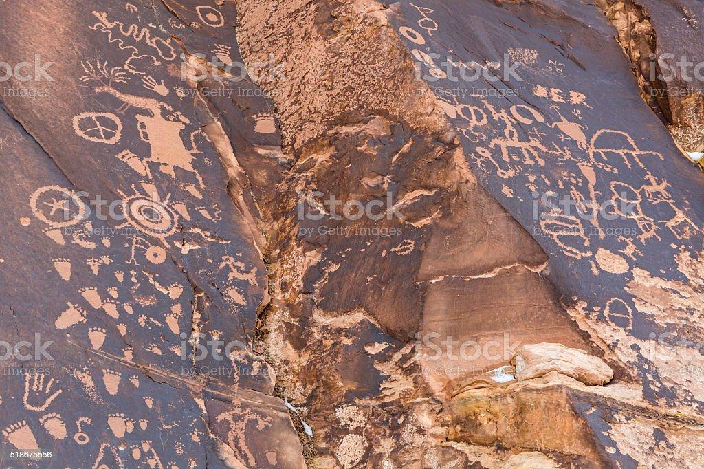 Newspaper Rock Crevice Detail stock photo