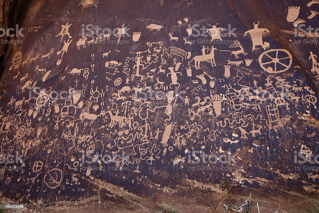 Newspaper Rock Petroglyphs stock photo