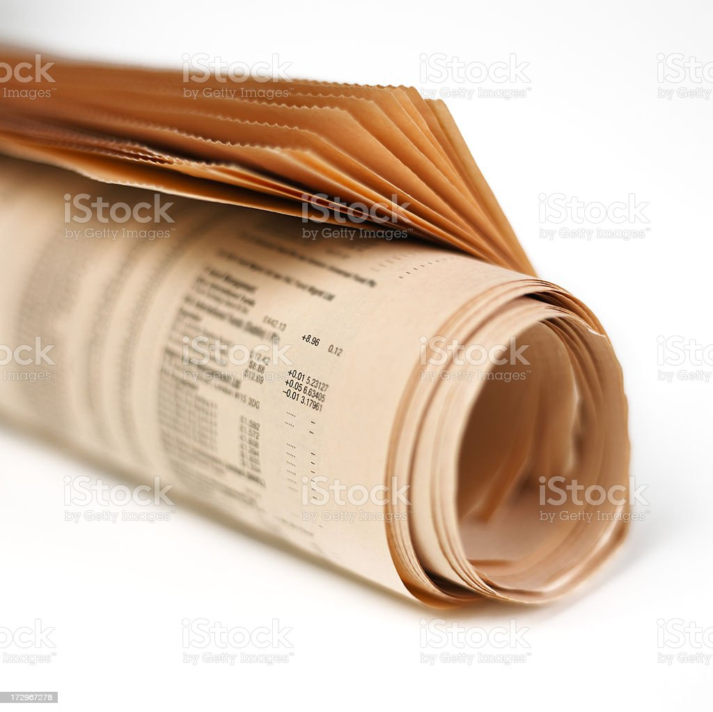Newspaper rolled up stock photo