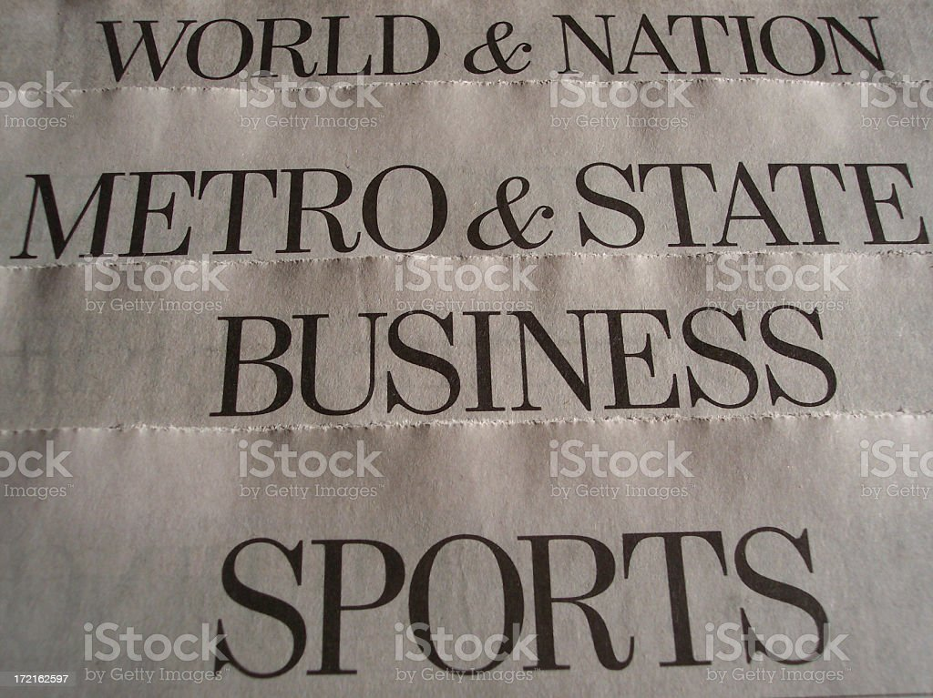Newspaper Section Headers stock photo
