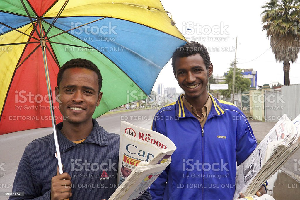 Newspaper sellers royalty-free stock photo
