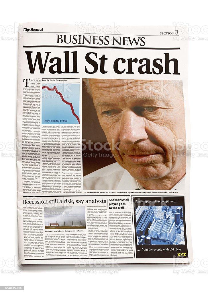 Newspaper: Wall St crash stock photo