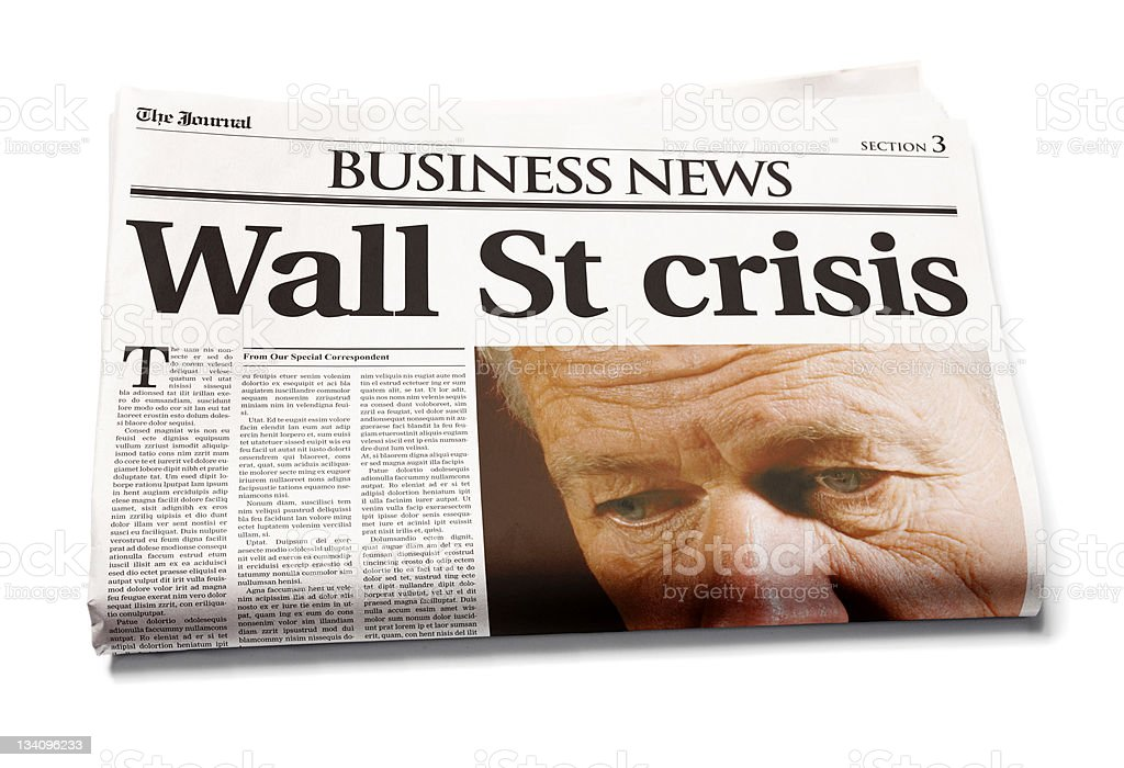 Newspaper: Wall St crisis stock photo