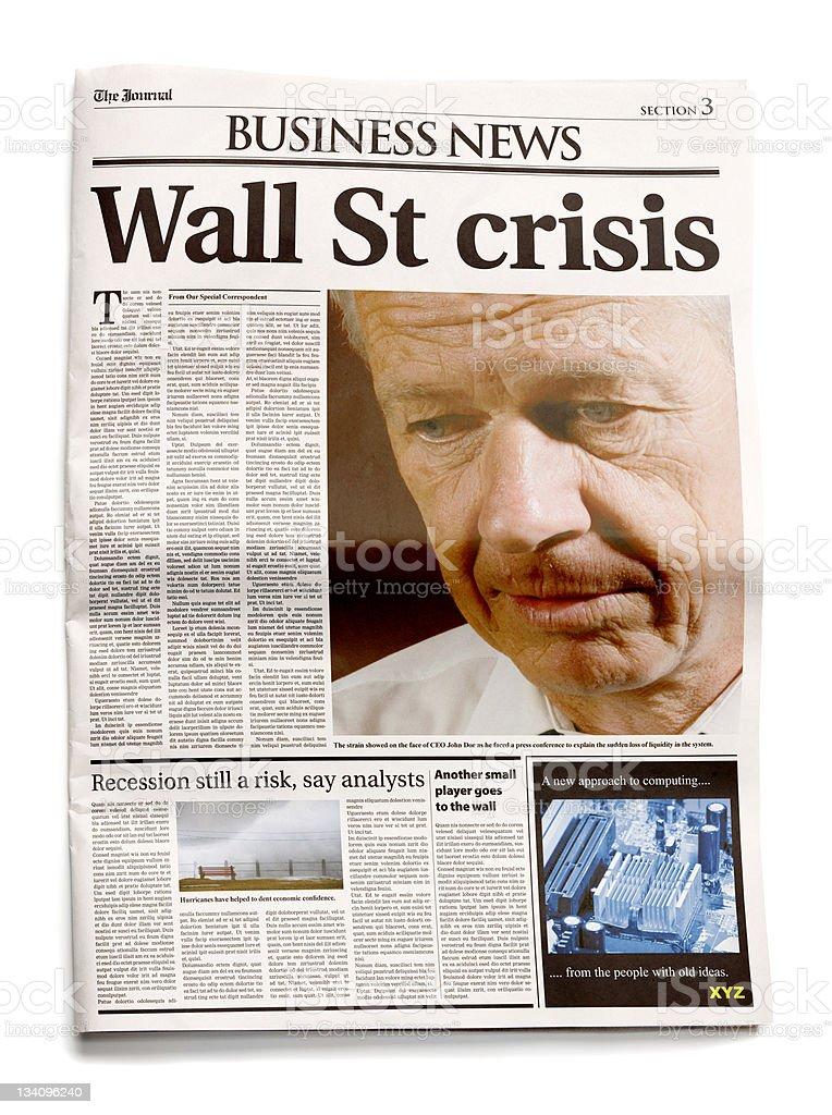Newspaper: Wall St crisis stock photo