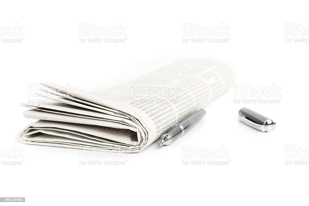 newspaper with ballpen royalty-free stock photo