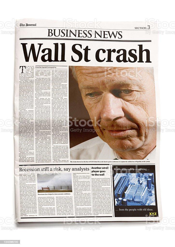 Newspaper with headline: Wall St crash royalty-free stock photo
