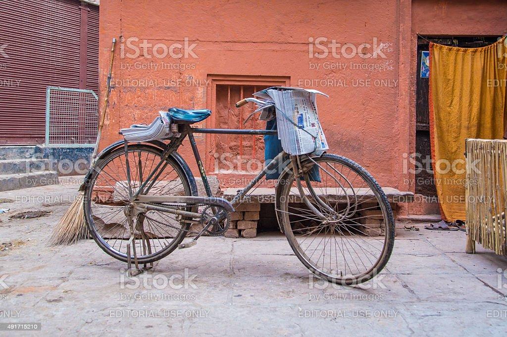 Newspaperman's bicycle stock photo