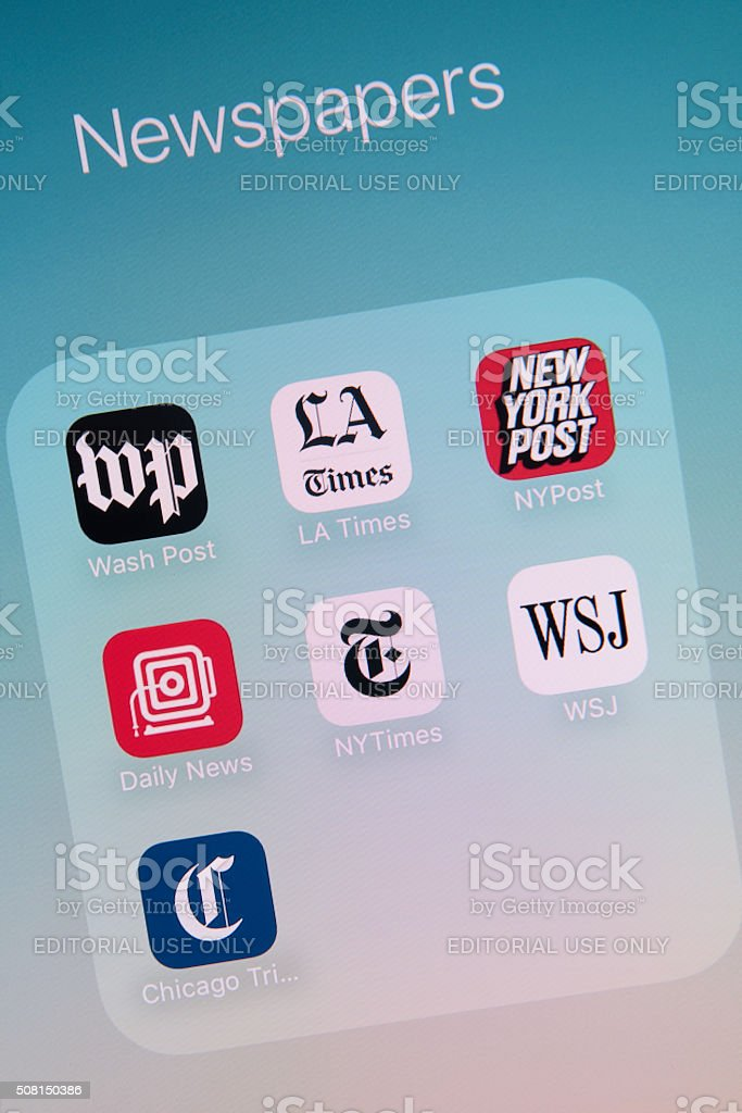 Newspapers Apps on Apple iPhone 6s Plus Screen stock photo