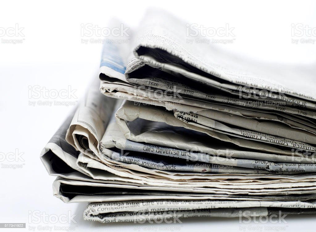 Newspapers close-up stock photo