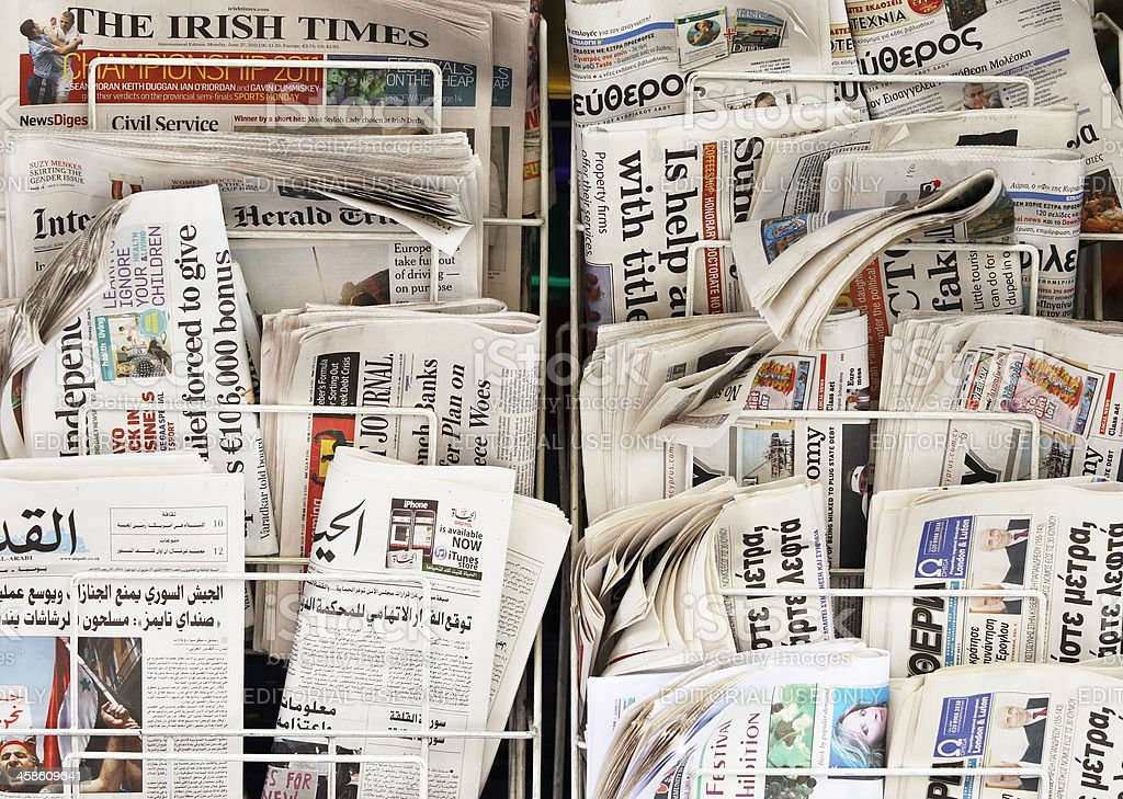 Newspapers from the world royalty-free stock photo