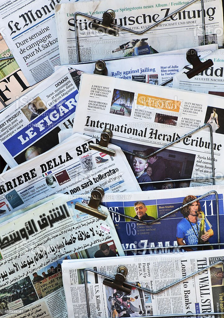 Newspapers from the world stock photo