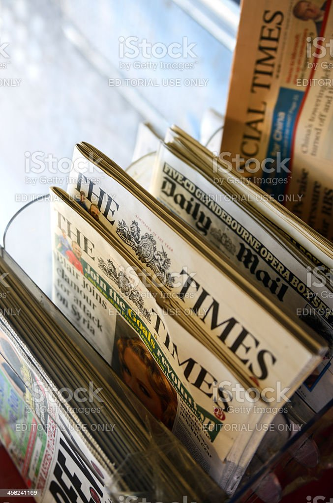 Newspapers in a Kiosk, London - England stock photo