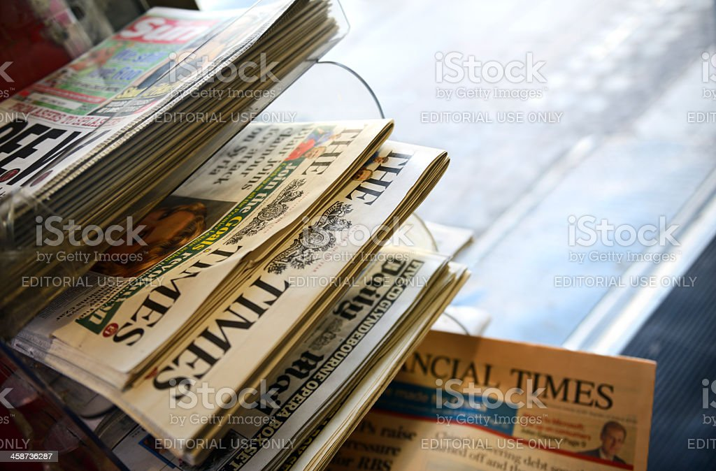 Newspapers in a Kiosk, London - England royalty-free stock photo