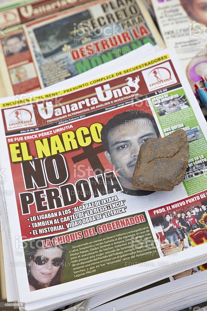 Newspapers in Spanish at Vending Stand, Puerto Vallarta, Mexico royalty-free stock photo