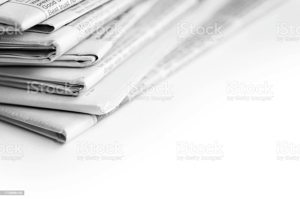 Newspapers on white background royalty-free stock photo