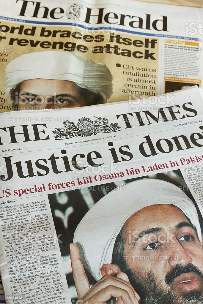 Newspapers report the death of Osama bin Laden. royalty-free stock photo