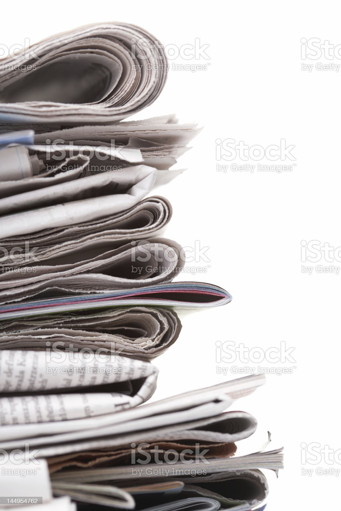 Newspapers, side view royalty-free stock photo