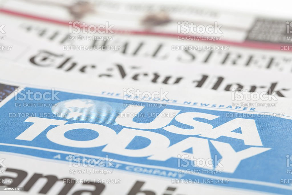 Newspapers Stacked Together stock photo