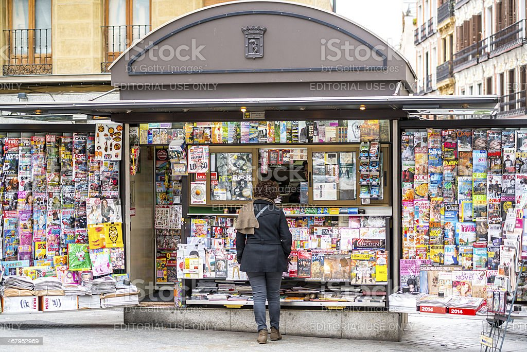 Newsstand in Madrid, Spain stock photo