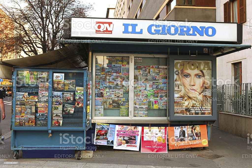 Newsstand in Milan, Italy royalty-free stock photo