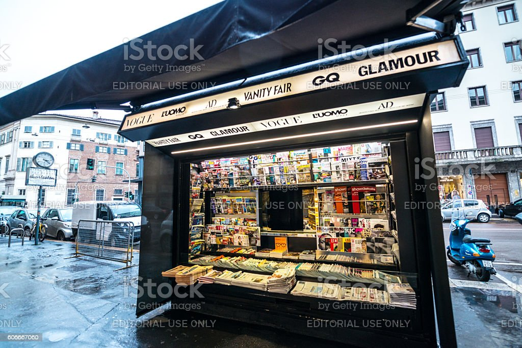 Newsstand in Milan, Italy stock photo