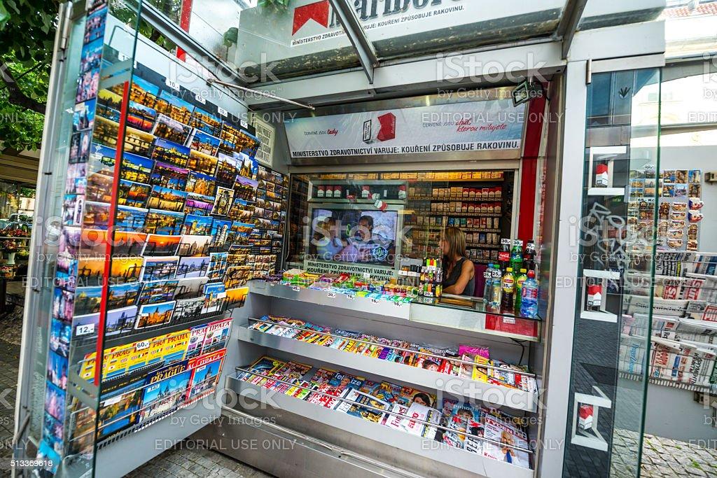 Newsstand in Prague stock photo