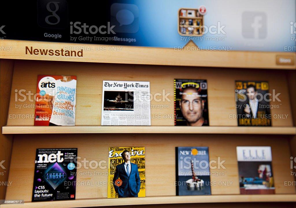 Newsstand on Ipad stock photo