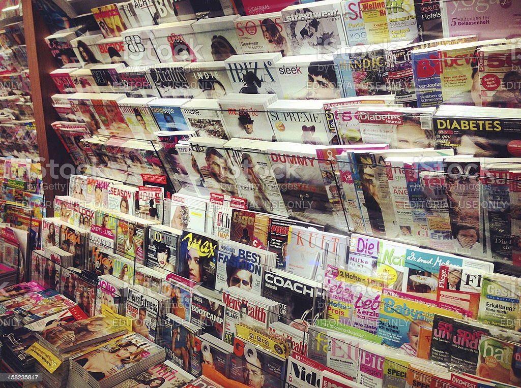 Newsstand with German Magazines stock photo