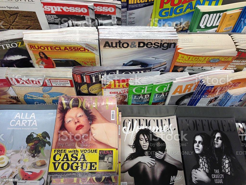 newsstand with italian magazines stock photo