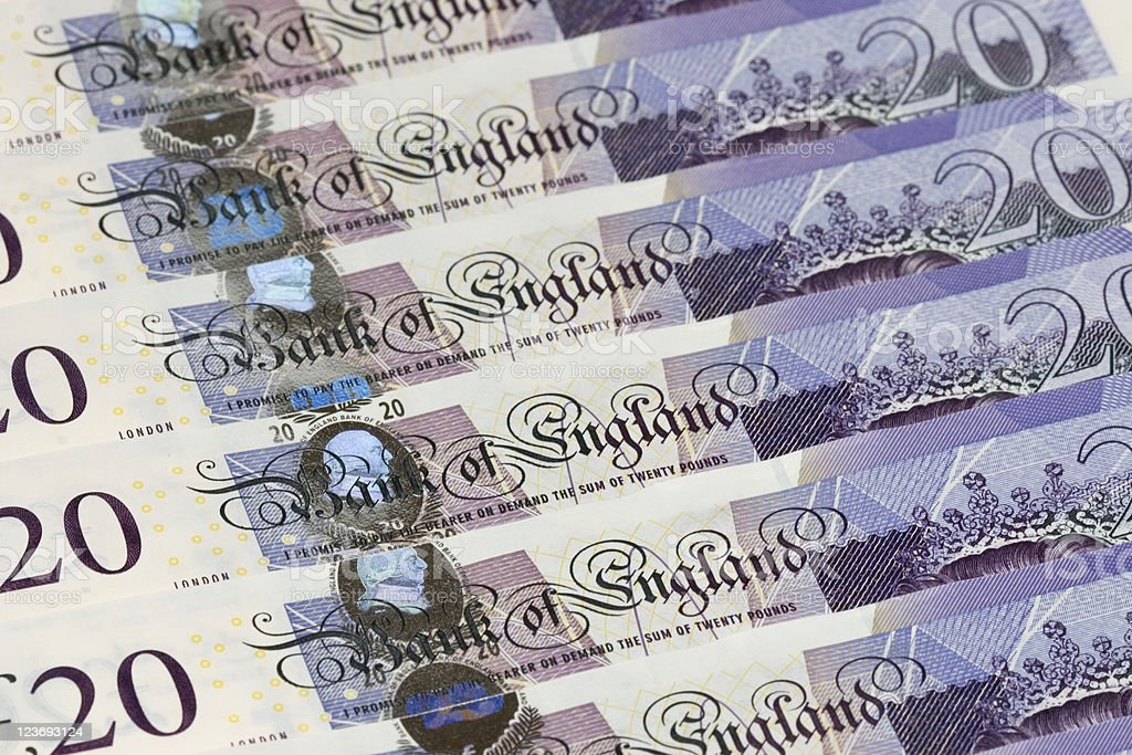 New-style Twenty Pound Notes royalty-free stock photo