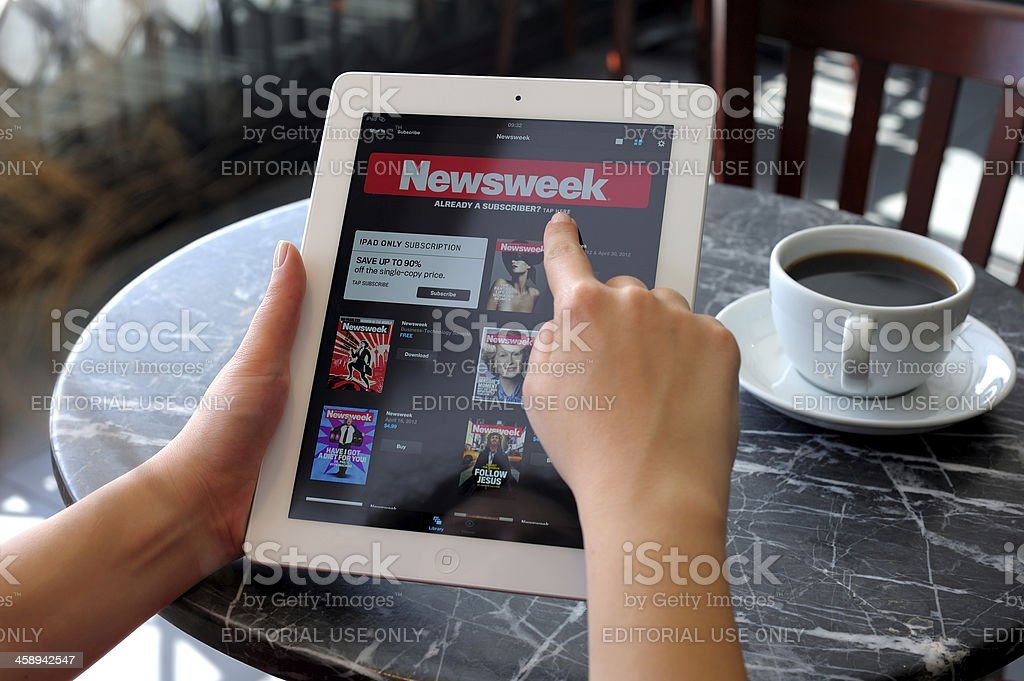 Newsweek on iPad 3 royalty-free stock photo